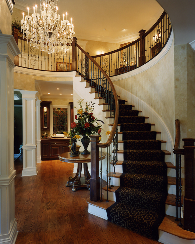 House Foyer Staircase : Foyer photos of custom house plans by studer residential