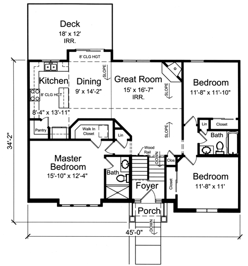 House plans drawn with bi level split foyer by studer for Split entry floor plans