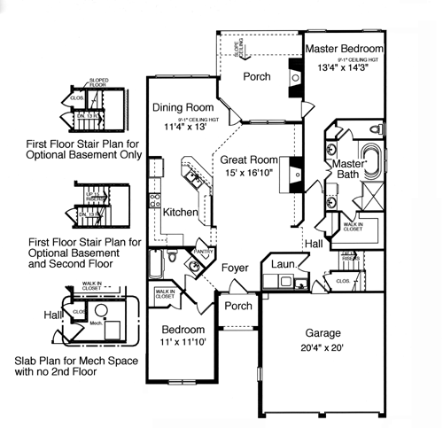 All plans the norfolk c for Patio home plans with rear garage
