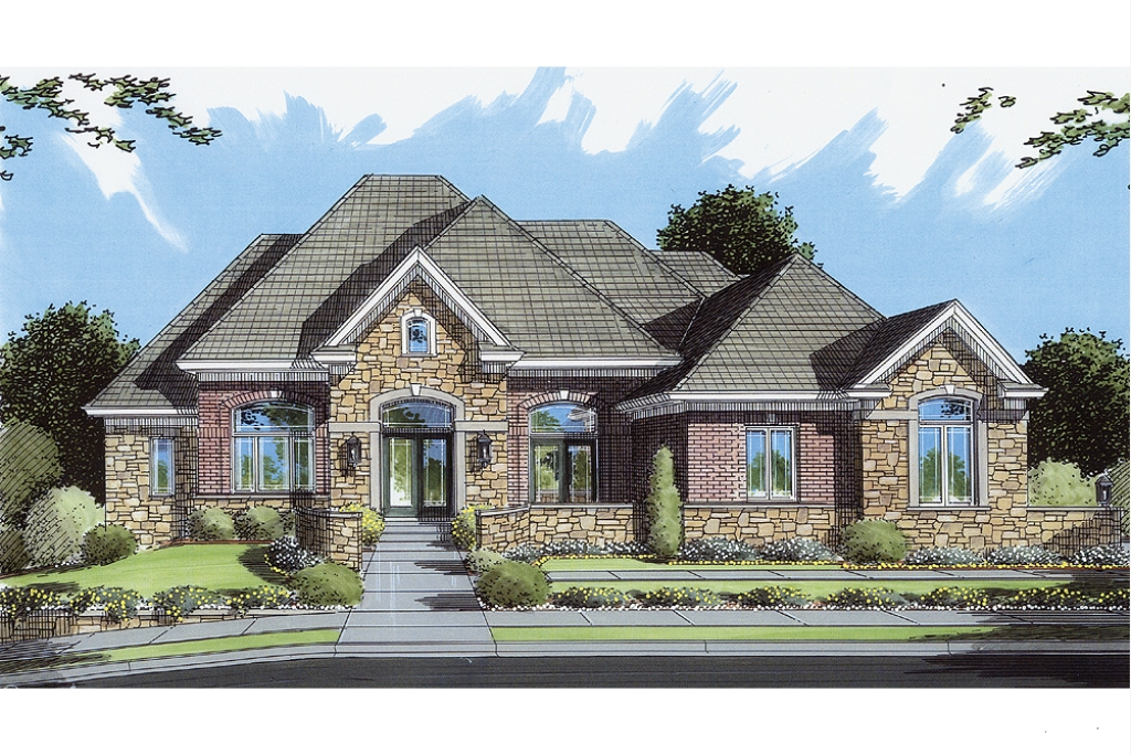 House plans stone brick exterior for Brick house floor plans